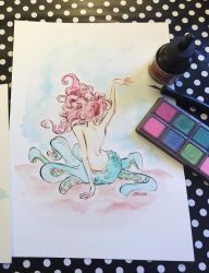 Octomaid Watercolor Illustration Video by jbsdesigns