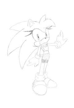 Female Sonic sketch 2 by DevanArcher101