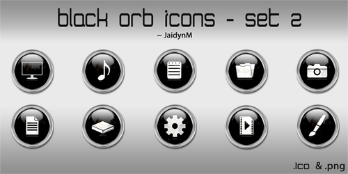 Black Orb Icons - 10 .ICO + .PNG (Set 2) by JaidynM