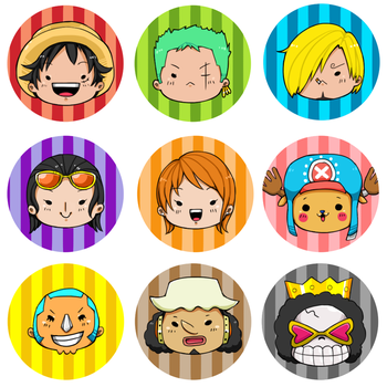 One Piece Buttons by kaox2