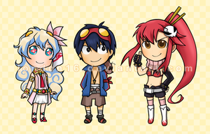Gurren Lagann chibis by london16