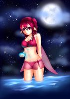 Ariana - Searching for a crystal by night by SweetyBat