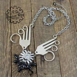 Winged Fork Necklace with Crystals by Doctor-Gus