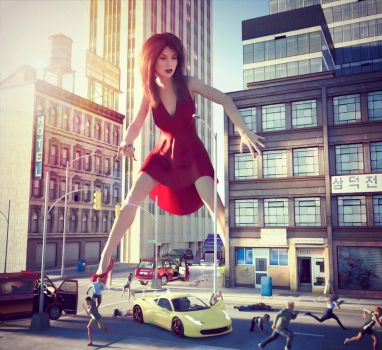 Giantess in the City by Flagg3D