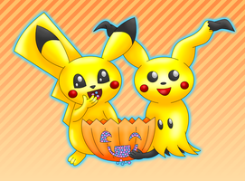 Pikachu Mimikyu Halloween colored by MikariStar