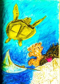 Sea Turtle and Manta Ray by Pyragus