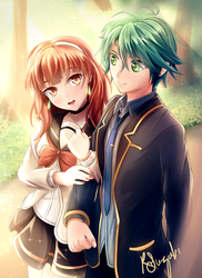 Alm and Celica - High School Version by Ryo-Suzuki