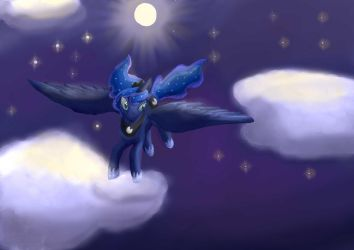 Princess Luna With Background (all prints gone) by Foxhatart