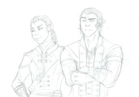 Aveline and Connor Sketch by Blinklight