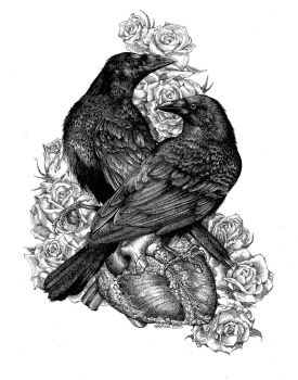 Crows with Heart and Roses - Commission by LKBurke29