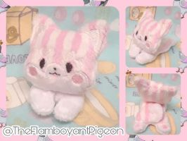 Valentine's Day Pink Striped Shiba Inu Plush by TheFlamboyantPigeon