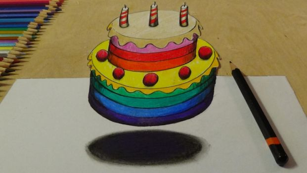 3D Levitating rainbow cake by VamosArt