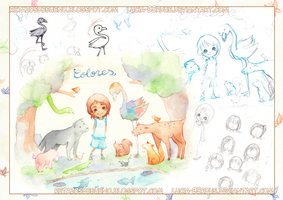Children's illustration, sketches and pages (1/3) by Lucia-95RduS