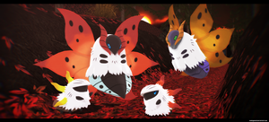 MMD Pokemon: Volcarona and Larvesta by kaahgomedl