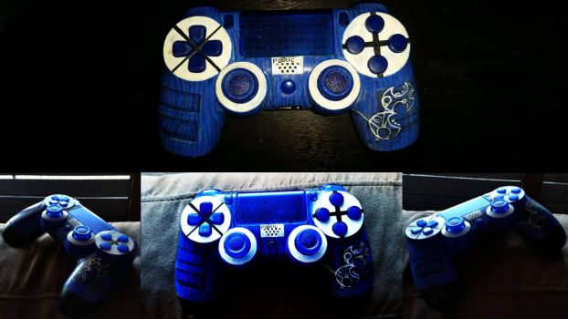 Custom Doctor Who themed PS4 dualshock controller by viridislament