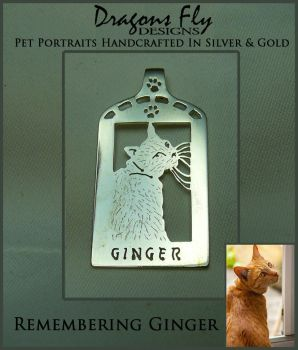 Cat in Window Jewelry Pendant - Remembering Ginger by DragonsFlyDesigns