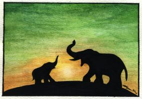 Elephants for Mothers Day by DragonTreasureArt