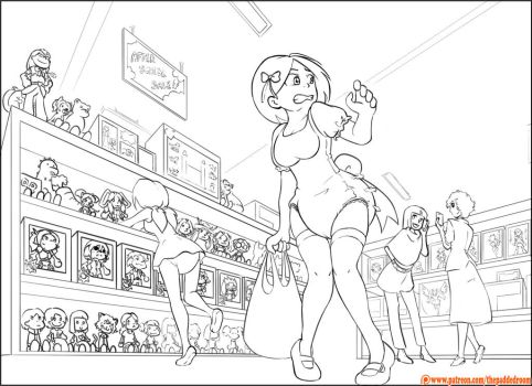 [Color me] Carrie and Lydia at the toy Store by The-Padded-Room