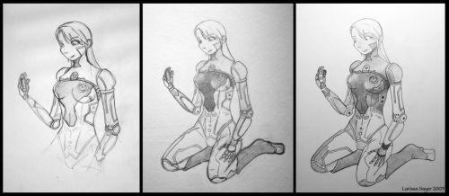 Eve and Nano WIP by rissdemeanour