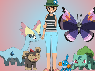 Samantha and her Pokemon by PokemonXYLover1998