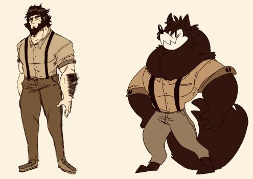 Human and Wolfy Bruce by Devious-She-Devil