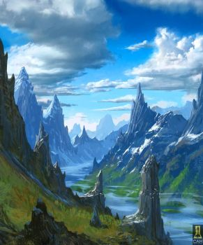 Mountains Cut by River by Concept-Art-House