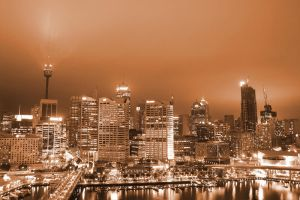 Sepia Skyline by leafinsectman