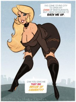 Lady - Big Influx - Cartoon PinUp Sketch (Commiss) by HugoTendaz