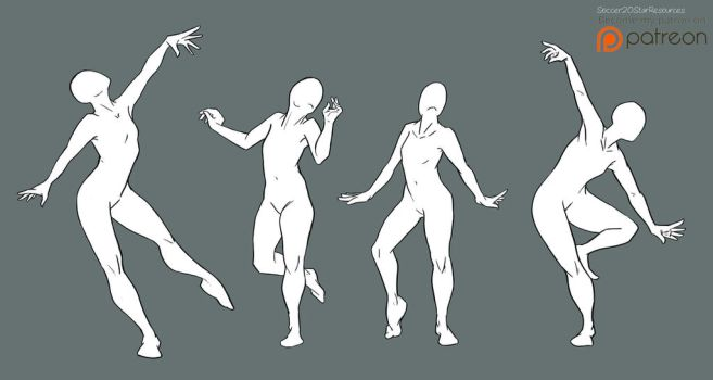 Free2Use Bases: Dance Poses w background by CourtneysConcepts