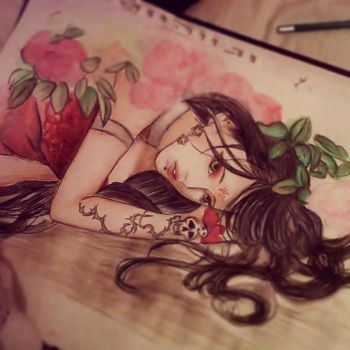 Girl colored pencil practise WIP by BeckyGoesChumbawumba