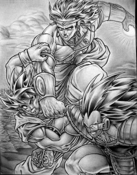 Goku vs Broly and Raditz commission by TicoDrawing
