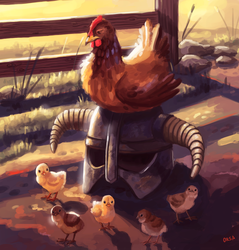 Hen with a helmet by OrsaTheSimurgh
