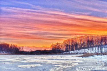Sunset Over The Frozen Pond by CecilyAndreuArtwork