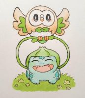 Bulbasaur and Rowlet by Chinchillaracer