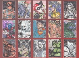 Comicbook character sketch cards by ZipDraw