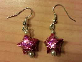 pink paper star earrings by syn-O-nyms