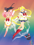 SailorMoon and ChibiMoon poster by SugarStarlight