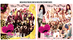 Mega Pack PNG SNSD y 2NE1 (250 Watchers) by GAJMEditions