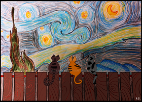 Three cats on a starry night by iadambose