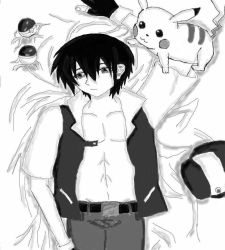Trainer Red black and white doujinshi cover draft. by earnestrosalia