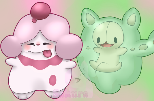 Slurpuff and Reuniclus by NeonHeartThePony