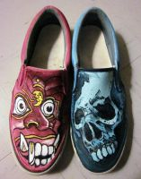 Red vs Blue Slip Ons by MacabreHeretic