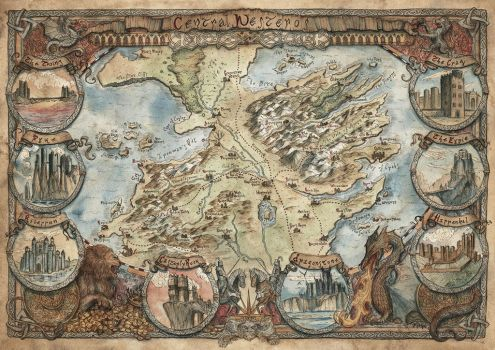Central Westeros Map Game of Thrones by FrancescaBaerald