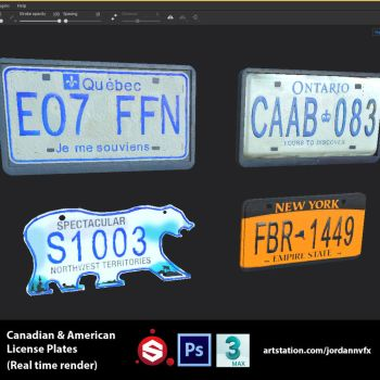 Canadian And American License Plates by JordanNVFX