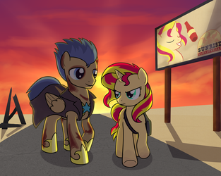 Fallout: Equestria Flash Sentry and Sunset Shimmer by artwork-tee