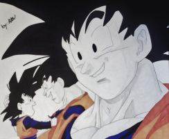 Goku The Loving Father by WatersDBZArt