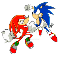 Sonic VS Knuckles by Winter-Freak