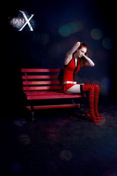 The Girl on the Red Bench II by KaitlynxCross