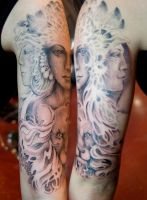3 headed goddess half sleeve by Uken