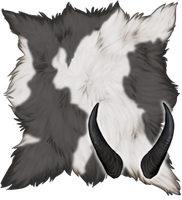 Grey Pied Goat Pelt + Large Horns by TokoTime